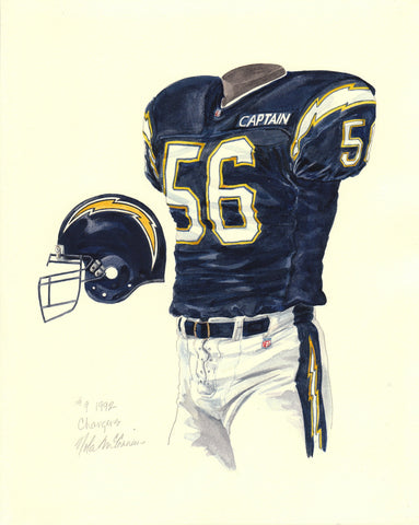 San Diego Chargers 1992 - Heritage Sports Art - original watercolor artwork - 1