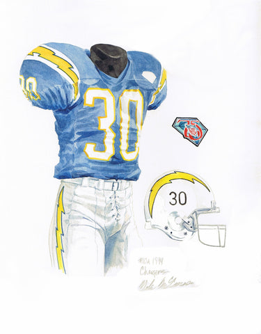 San Diego Chargers 1994 Throwback - Heritage Sports Art - original watercolor artwork - 2