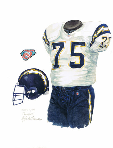 San Diego Chargers 1994 White - Heritage Sports Art - original watercolor artwork - 1