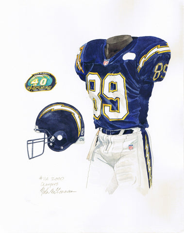 San Diego Chargers 2000 - Heritage Sports Art - original watercolor artwork - 1