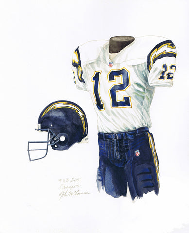 San Diego Chargers 2001 - Heritage Sports Art - original watercolor artwork - 1