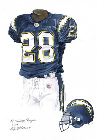 San Diego Chargers 2004 - Heritage Sports Art - original watercolor artwork - 1