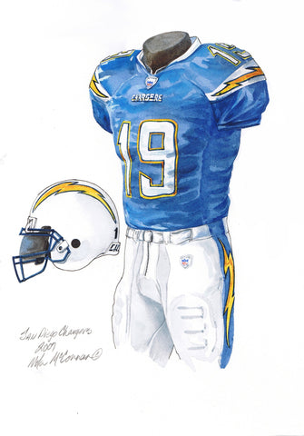 San Diego Chargers 2007 - Heritage Sports Art - original watercolor artwork - 1