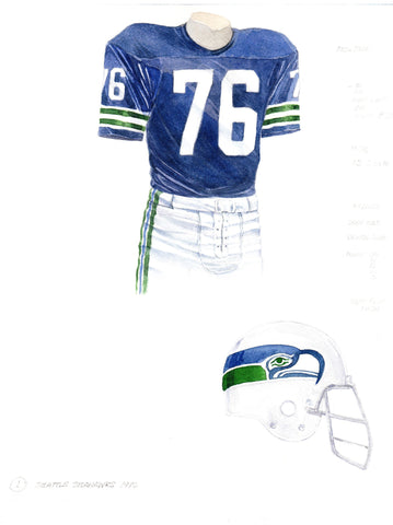 Seattle Seahawks 1976 - Heritage Sports Art - original watercolor artwork - 1