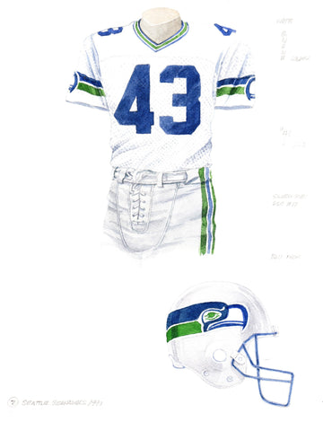 Seattle Seahawks 1990 - Heritage Sports Art - original watercolor artwork - 1