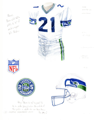 Seattle Seahawks 2000 - Heritage Sports Art - original watercolor artwork - 1