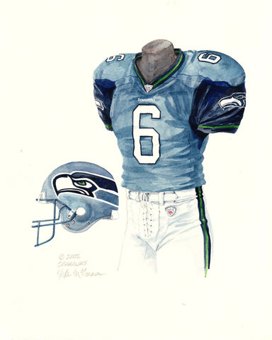 Seattle Seahawks 2002 Blue - Heritage Sports Art - original watercolor artwork - 1