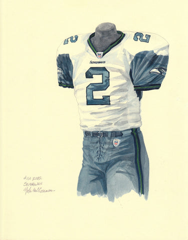 Seattle Seahawks 2002 White - Heritage Sports Art - original watercolor artwork - 1