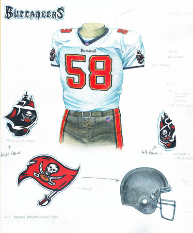 Tampa Bay Buccaneers 1997 - Heritage Sports Art - original watercolor artwork - 1