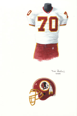 Washington Redskins 2000 - Heritage Sports Art - original watercolor artwork - 1