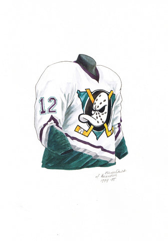 Anaheim Ducks 1994-95 - Heritage Sports Art - original watercolor artwork - 1