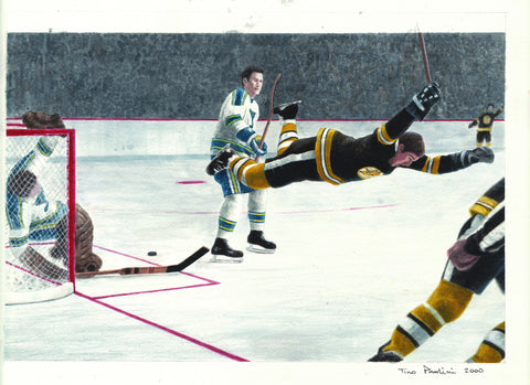 Bobby Orr 1969-70 Stanley Cup Winning Goal - Heritage Sports Art - original watercolor artwork - 1