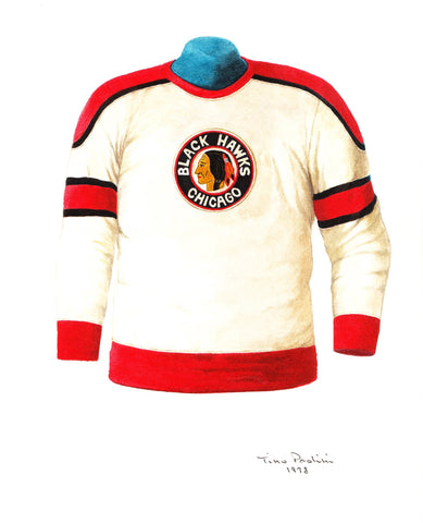 Chicago Blackhawks 1953-54 - Heritage Sports Art - original watercolor artwork - 1