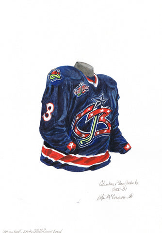 Columbus Blue Jackets 2000-01 - Heritage Sports Art - original watercolor artwork - 1