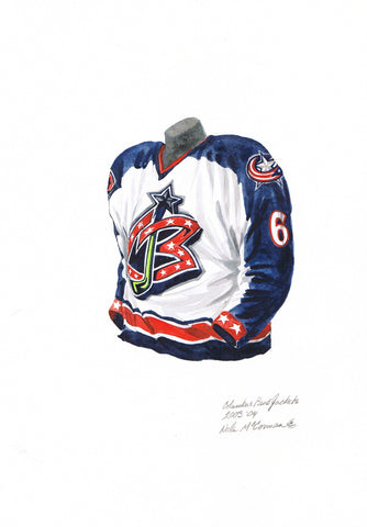 Columbus Blue Jackets 2003-04 - Heritage Sports Art - original watercolor artwork - 1