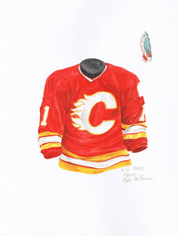 Calgary Flames 1988-89 Red - Heritage Sports Art - original watercolor artwork - 1