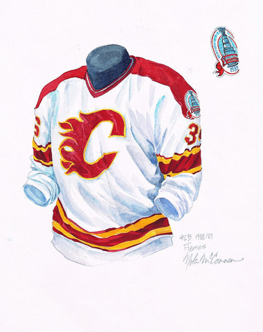Calgary Flames 1988-89 White - Heritage Sports Art - original watercolor artwork - 1