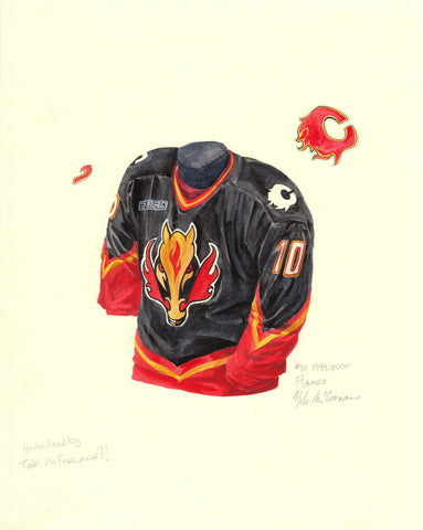 Calgary Flames 1999-2000 - Heritage Sports Art - original watercolor artwork - 1