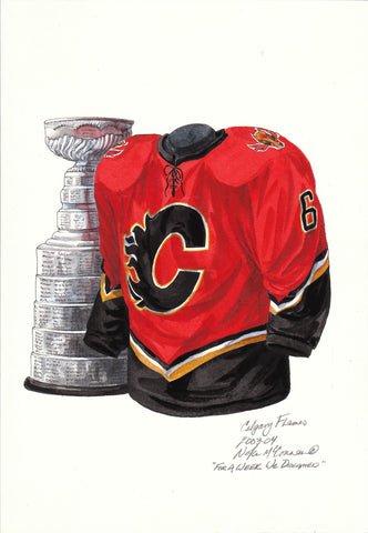 Calgary Flames 2003-04 - Heritage Sports Art - original watercolor artwork - 1