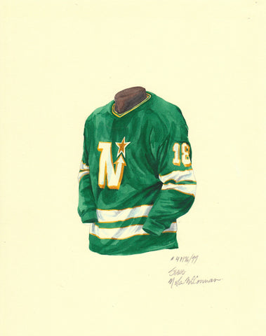 Dallas Stars 1976-77 - Heritage Sports Art - original watercolor artwork - 1