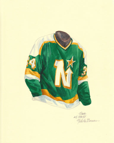 Dallas Stars 1980-81 - Heritage Sports Art - original watercolor artwork - 1