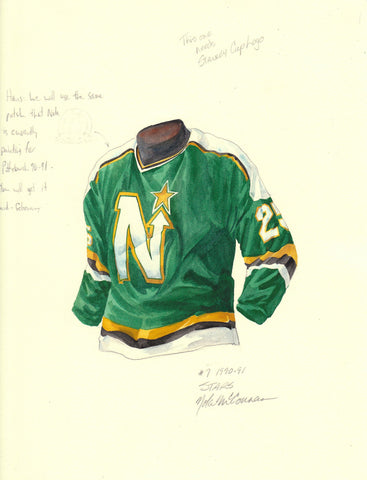 Dallas Stars 1990-91 - Heritage Sports Art - original watercolor artwork - 1