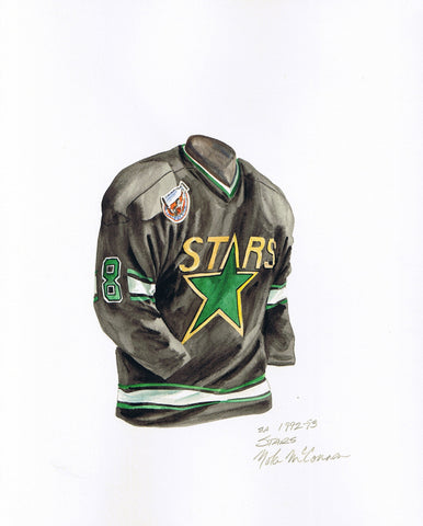 Dallas Stars 1992-93 - Heritage Sports Art - original watercolor artwork - 1