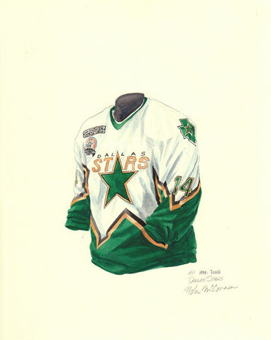 Dallas Stars 1999-2000 - Heritage Sports Art - original watercolor artwork - 1