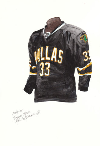 Dallas Stars 2007-08 Black - Heritage Sports Art - original watercolor artwork - 1