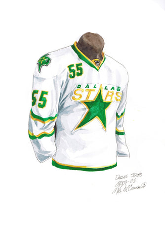Dallas Stars 2007-08 White - Heritage Sports Art - original watercolor artwork - 1