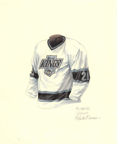 Los Angeles Kings 1988-89 White - Heritage Sports Art - original watercolor artwork - 1