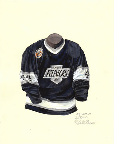Los Angeles Kings 1992-93 Black - Heritage Sports Art - original watercolor artwork - 1