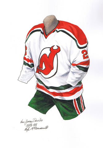 New Jersey Devils 1987-88 - Heritage Sports Art - original watercolor artwork - 1