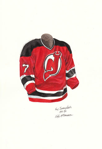 New Jersey Devils 1993-94 - Heritage Sports Art - original watercolor artwork - 1