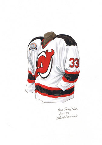 New Jersey Devils 2002-03 - Heritage Sports Art - original watercolor artwork - 1