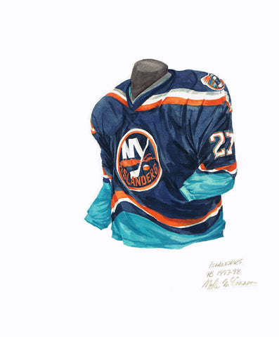 New York Islanders 1997-98 - Heritage Sports Art - original watercolor artwork - 1