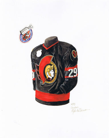 Ottawa Senators 1992-93 Black - Heritage Sports Art - original watercolor artwork - 1