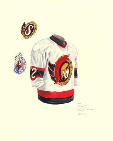 Ottawa Senators 1992-93 White - Heritage Sports Art - original watercolor artwork - 1