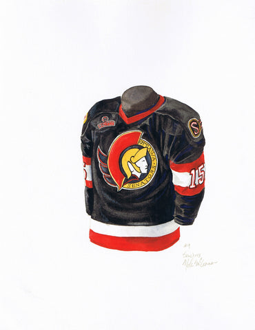 Ottawa Senators 1995-96 - Heritage Sports Art - original watercolor artwork - 1