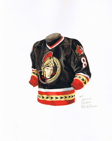 Ottawa Senators 2000-01 - Heritage Sports Art - original watercolor artwork - 1