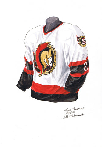 Ottawa Senators 2005-06 - Heritage Sports Art - original watercolor artwork - 1