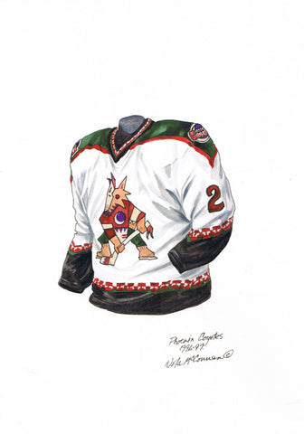 Arizona Coyotes 1996-97 - Heritage Sports Art - original watercolor artwork - 1