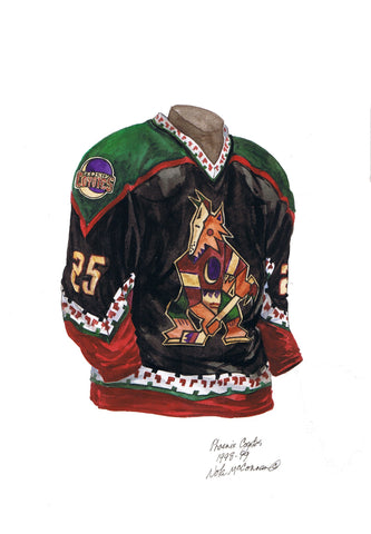 Arizona Coyotes 1998-99 - Heritage Sports Art - original watercolor artwork - 1