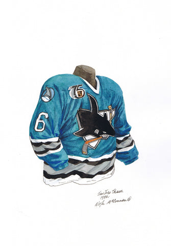 San Jose Sharks 1992-93 - Heritage Sports Art - original watercolor artwork - 1