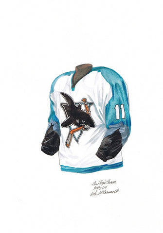 San Jose Sharks 2003-04 - Heritage Sports Art - original watercolor artwork - 1