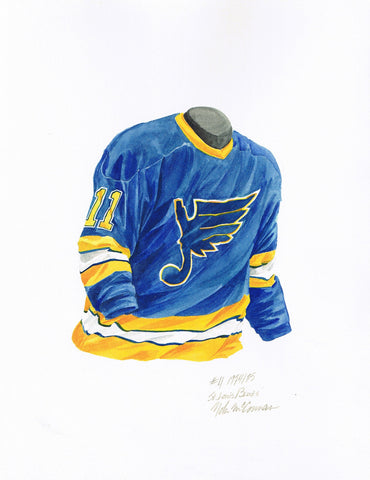 St. Louis Blues 1974-75 - Heritage Sports Art - original watercolor artwork - 1