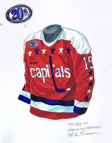 Washington Capitals 1993-94 - Heritage Sports Art - original watercolor artwork - 1
