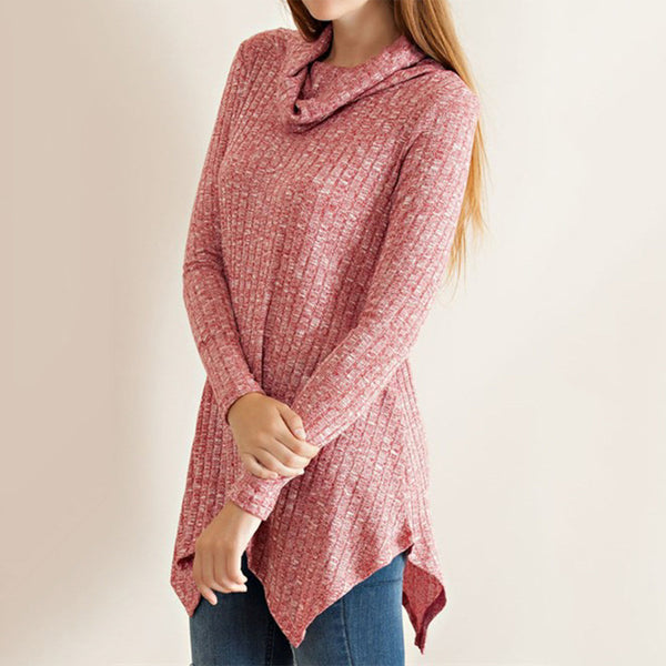Melange Rib Cowl Neckline Tunic Featuring Uneven Hem Top - Fashion eNation