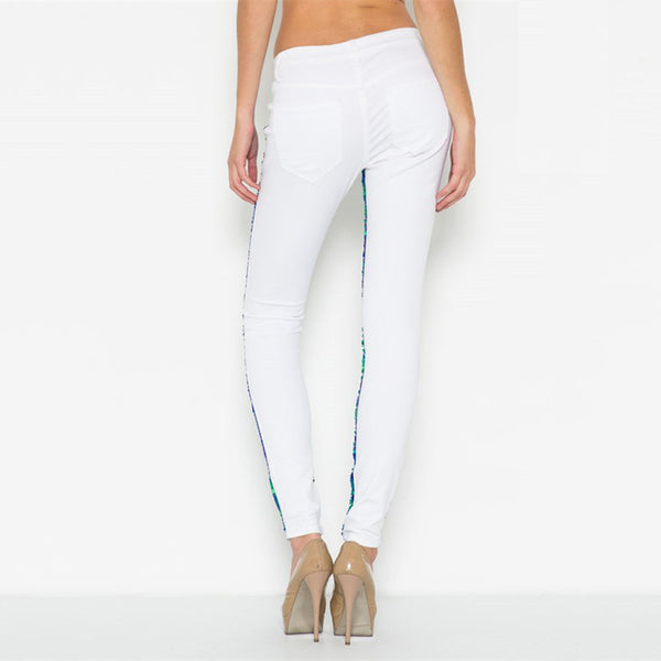 Sequin Skinny Denim White Denim Base And Embellished With Mutli Colored Sequins And Subtle Knee Slits. - Fashion eNation