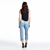 The Relaxed Fit  Patched And Finished With A Red Plaid Fabric For A Grunge-Focused Look. Denim Jean Pant
